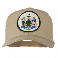 Maine State Patched Mesh Cap - Khaki