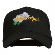 USA State Mississippi Flower Southern Magnolia Embroidery Cap - Black