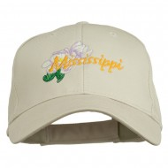 USA State Mississippi Flower Southern Magnolia Embroidery Cap - Stone