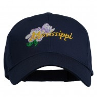 USA State Mississippi Flower Southern Magnolia Embroidery Cap - Navy