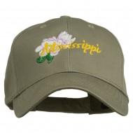 USA State Mississippi Flower Southern Magnolia Embroidery Cap - Olive