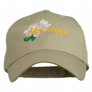 USA State Mississippi Flower Southern Magnolia Embroidery Cap - Khaki
