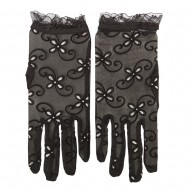 Woman's Glitter Accented Summer Sheer Glove - Black