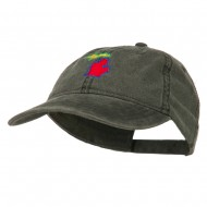 Michigan State Map Embroidered Washed Cotton Cap - Black