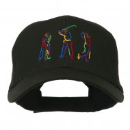 Men's Golf Sequence Embroidered Cap - Black