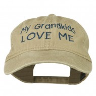 My Grandkids Love Me Embroidered Washed Cap - Khaki