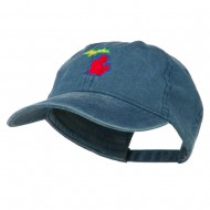 Michigan State Map Embroidered Washed Cotton Cap - Navy