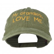 My Grandkids Love Me Embroidered Washed Cap - Olive Green