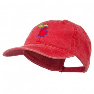 Michigan State Map Embroidered Washed Cotton Cap - Red