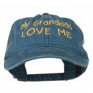 My Grandkids Love Me Embroidered Washed Cap - Navy