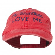 My Grandkids Love Me Embroidered Washed Cap - Red