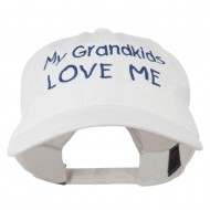 My Grandkids Love Me Embroidered Washed Cap - White