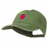 Michigan State Map Embroidered Washed Cotton Cap - Olive Green