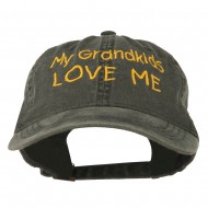 My Grandkids Love Me Embroidered Washed Cap - Black