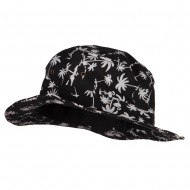 Palm Print Wired Bucket Hat - Black