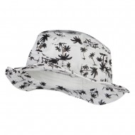 Palm Print Wired Bucket Hat - White