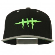 Halloween Monster Stitches Embroidered Snapback Cap - Black Silver