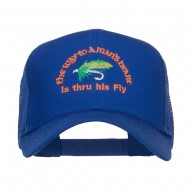 Man Heart His Fly Embroidered Mesh Cap - Royal
