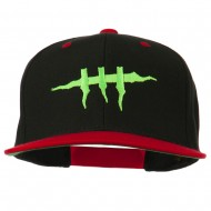 Halloween Monster Stitches Embroidered Snapback Cap - Black Red