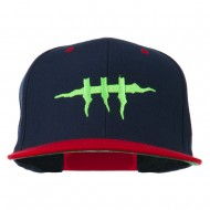 Halloween Monster Stitches Embroidered Snapback Cap - Navy Red