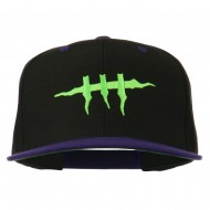 Halloween Monster Stitches Embroidered Snapback Cap - Black Purple