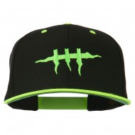 Halloween Monster Stitches Embroidered Snapback Cap - Neon Yellow