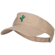 Mini Cactus Embroidered Cotton Washed Visor - Khaki