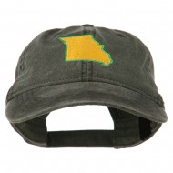 Missouri State Map Embroidered Washed Cotton Cap - Black