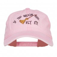 If The Broom Fits Embroidered Washed Cap - Pink