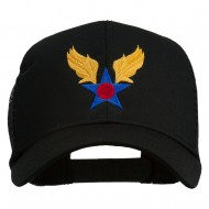 Army Air Corps Military Embroidered Mesh Back Cap - Black