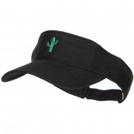 Mini Cactus Embroidered Cotton Washed Visor - Black