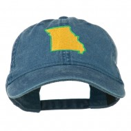 Missouri State Map Embroidered Washed Cotton Cap - Navy