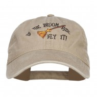 If The Broom Fits Embroidered Washed Cap - Khaki