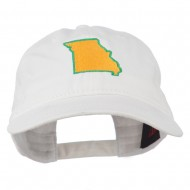 Missouri State Map Embroidered Washed Cotton Cap - White