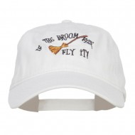 If The Broom Fits Embroidered Washed Cap - White
