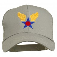 Army Air Corps Military Embroidered Mesh Back Cap - Grey