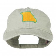 Missouri State Map Embroidered Washed Cotton Cap - Stone