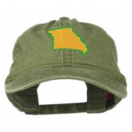 Missouri State Map Embroidered Washed Cotton Cap - Olive Green