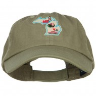 USA State Michigan Patched Low Profile Cap - Olive
