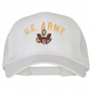 US Army Logo Embroidered Solid Cotton Mesh Pro Cap - White