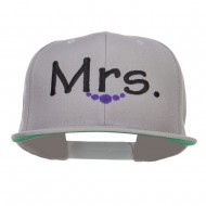 Mrs Embroidered Snapback Cap - Silver