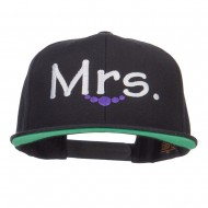 Mrs Embroidered Snapback Cap - Black