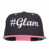 Glam Embroidered Two Tone Snapback - Black Pink