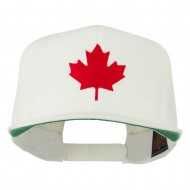 Canada Maple Leaf Embroidered Flat Bill Cap - Natural