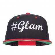 Glam Embroidered Two Tone Snapback - Black Red