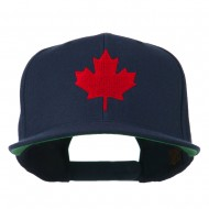 Canada Maple Leaf Embroidered Flat Bill Cap - Navy
