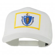 Massachusetts State High Profile Patch Cap - White