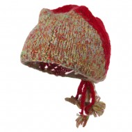 Women's Multi Mix Gathered Back Beanie - Red