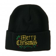 Mistletoe Merry Christmas Embroidered Long Beanie - Black