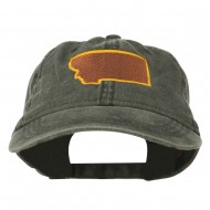 Montana State Map Embroidered Cap - Black